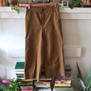 Beautiful tan trousers. Cropped and wide legged